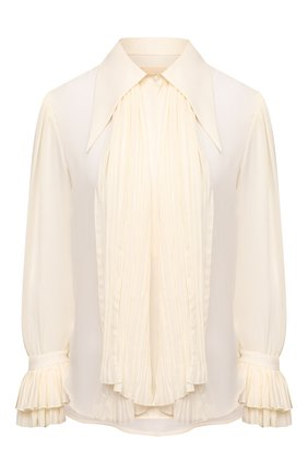 Женская шелковая блузка KHAITE белого цвета, арт. 2159314/NIA | Фото 1