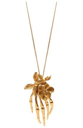 Женская кулон на цепочке SAINT LAURENT золотого цвета, арт. 652969/Y1500 | Фото 2 (Материал: Металл)