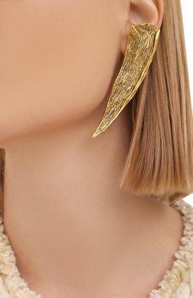 Женские клипсы SAINT LAURENT золотого цвета, арт. 657812/Y1500 | Фото 2