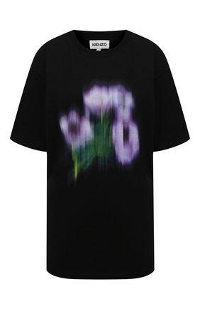 Женская хлопковая футболка KENZO черного цвета, арт. FB52TS9704SA | Фото 1