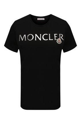 Женская хлопковая футболка MONCLER черного цвета, арт. G1-093-8C715-10-V8094 | Фото 1