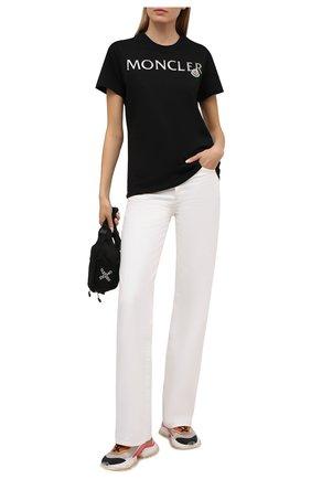 Женская хлопковая футболка MONCLER черного цвета, арт. G1-093-8C715-10-V8094 | Фото 2