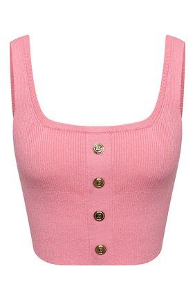 Женский топ из кашемира и шелка BALMAIN розового цвета, арт. VF2AA037/K255   Фото 1 (Кросс-КТ: без рукавов; Длина (для топов): Укороченные; Материал внешний: Кашемир, Шерсть; Стили: Гламурный)