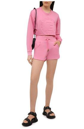 Женские шорты из хлопка и кашемира BALMAIN розового цвета, арт. VF20A000/B039 | Фото 2 (Стили: Спорт-шик; Длина Ж (юбки, платья, шорты): Мини; Материал внешний: Хлопок; Женское Кросс-КТ: Шорты-одежда)