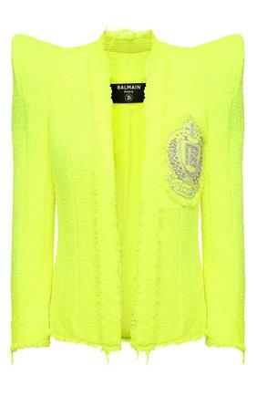 Женский жакет BALMAIN зеленого цвета, арт. VF0SC020/XA01 | Фото 1