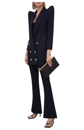Женские шерстяные брюки BALMAIN темно-синего цвета, арт. VF0PP015/W105 | Фото 2