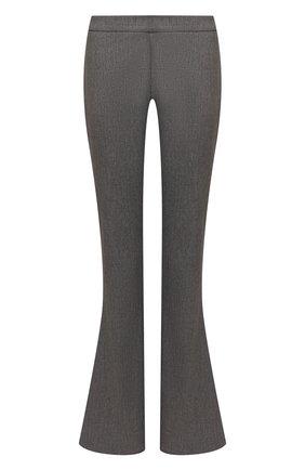 Женские шерстяные брюки BALMAIN серого цвета, арт. VF0PP010/W128   Фото 1 (Материал внешний: Шерсть; Женское Кросс-КТ: Брюки-одежда; Длина (брюки, джинсы): Удлиненные; Стили: Гламурный; Силуэт Ж (брюки и джинсы): Расклешенные)