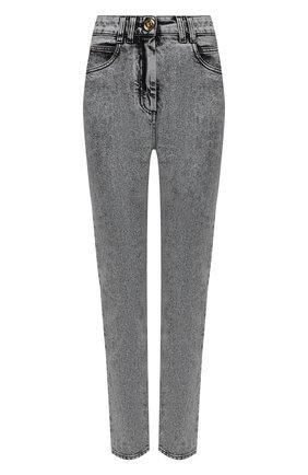 Женские джинсы BALMAIN серого цвета, арт. VF0MF000/D112   Фото 1 (Стили: Гламурный; Кросс-КТ: Деним; Материал внешний: Хлопок; Длина (брюки, джинсы): Стандартные; Силуэт Ж (брюки и джинсы): Узкие)
