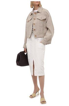 Женская юбка изо льна и хлопка ISABEL MARANT кремвого цвета, арт. JU1292-21E012I/ELEKIA   Фото 2
