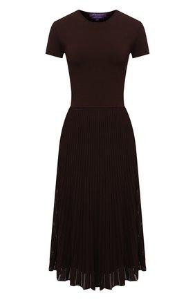 Женское платье из вискозы RALPH LAUREN коричневого цвета, арт. 290849799 | Фото 1 (Случай: Повседневный; Материал подклада: Вискоза; Материал внешний: Вискоза; Рукава: Короткие; Длина Ж (юбки, платья, шорты): Миди; Женское Кросс-КТ: Платье-одежда; Стили: Кэжуэл)