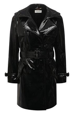 Женский плащ SAINT LAURENT черного цвета, арт. 660962/Y7B13   Фото 1