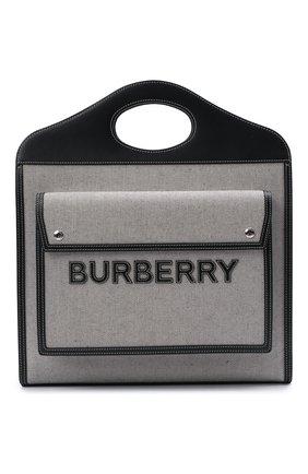 Женская сумка pocket cabas BURBERRY черно-белого цвета, арт. 8041113 | Фото 1 (Сумки-технические: Сумки top-handle, Сумки через плечо; Материал: Текстиль; Размер: large)