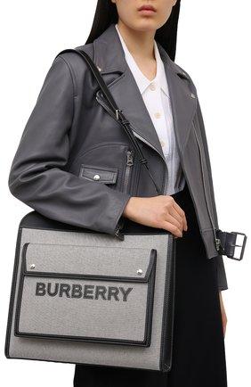 Женская сумка pocket cabas BURBERRY черно-белого цвета, арт. 8041113 | Фото 2 (Сумки-технические: Сумки top-handle, Сумки через плечо; Материал: Текстиль; Размер: large)