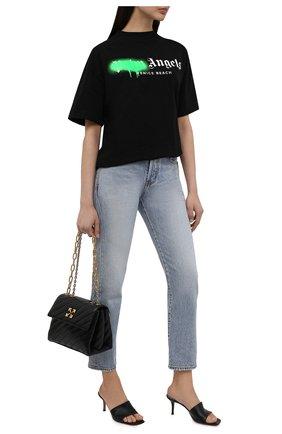 Женская хлопковая футболка PALM ANGELS черного цвета, арт. PWAA039S21JER0021070 | Фото 2