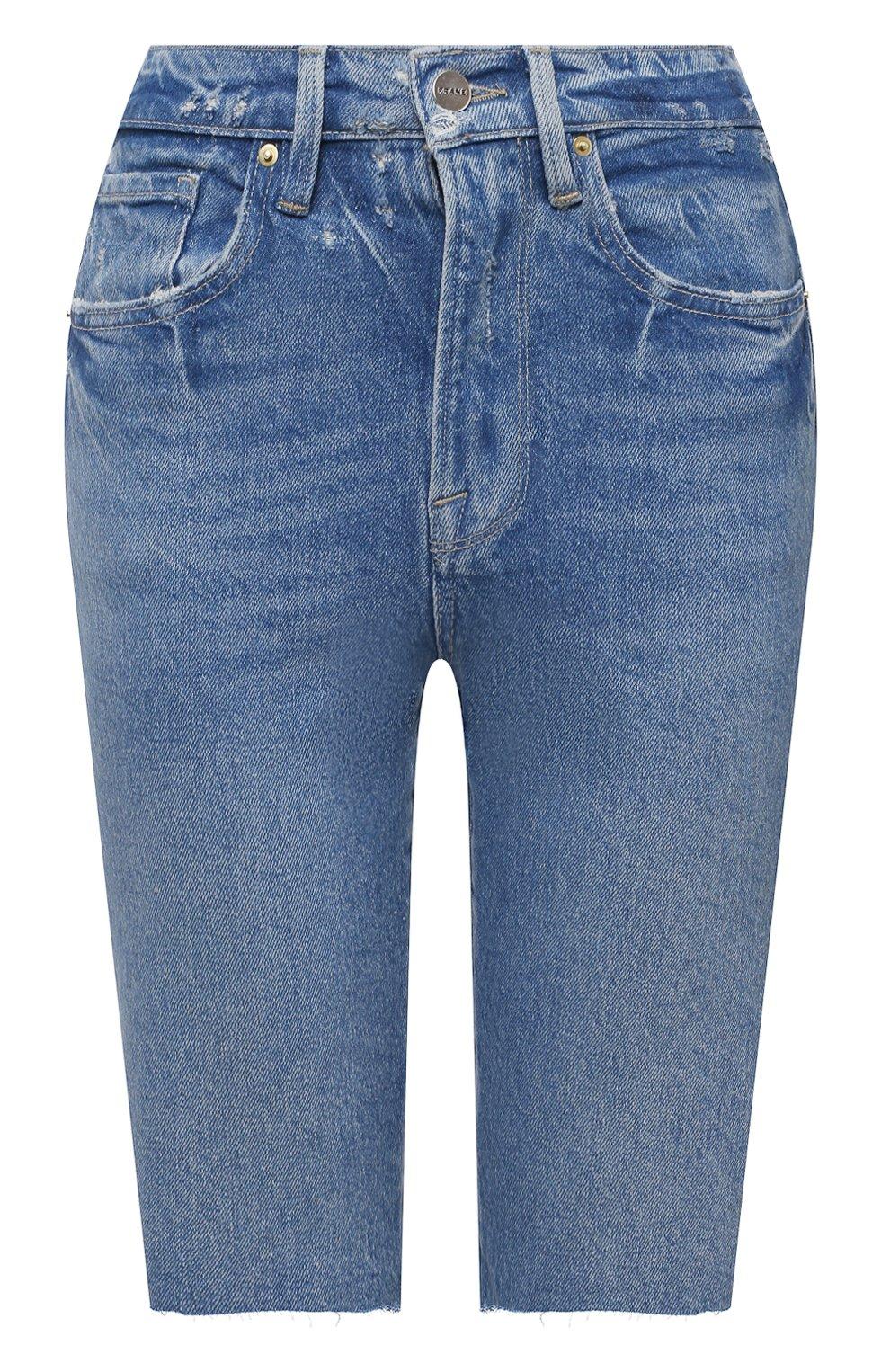 Женские джинсовые шорты FRAME DENIM синего цвета, арт. LVBSHRA118   Фото 1 (Женское Кросс-КТ: Шорты-одежда; Кросс-КТ: Деним; Материал внешний: Хлопок, Лиоцелл, Деним; Стили: Спорт-шик; Длина Ж (юбки, платья, шорты): До колена)