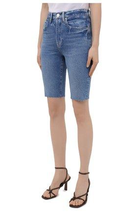 Женские джинсовые шорты FRAME DENIM синего цвета, арт. LVBSHRA118   Фото 3 (Женское Кросс-КТ: Шорты-одежда; Кросс-КТ: Деним; Материал внешний: Хлопок, Лиоцелл, Деним; Стили: Спорт-шик; Длина Ж (юбки, платья, шорты): До колена)