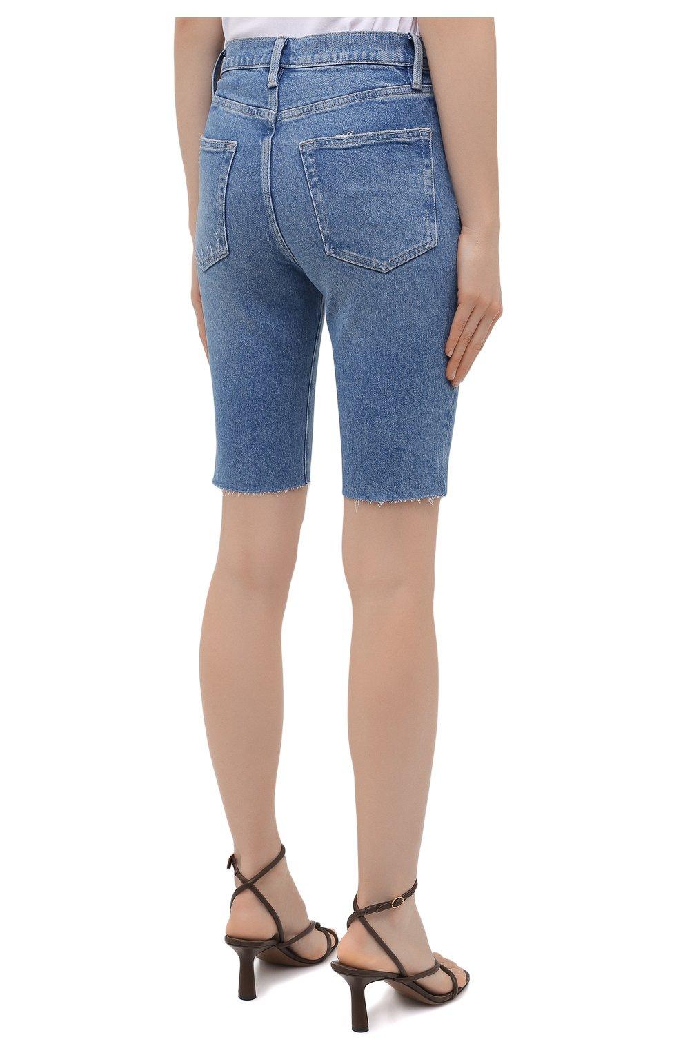 Женские джинсовые шорты FRAME DENIM синего цвета, арт. LVBSHRA118   Фото 4 (Женское Кросс-КТ: Шорты-одежда; Кросс-КТ: Деним; Материал внешний: Хлопок, Лиоцелл, Деним; Стили: Спорт-шик; Длина Ж (юбки, платья, шорты): До колена)