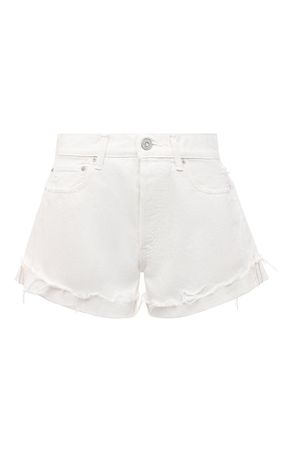 Женские джинсовые шорты MOUSSY белого цвета, арт. 025ESC11-2690 | Фото 1 (Женское Кросс-КТ: Шорты-одежда; Кросс-КТ: Деним; Длина Ж (юбки, платья, шорты): Мини; Материал внешний: Хлопок; Стили: Спорт-шик)