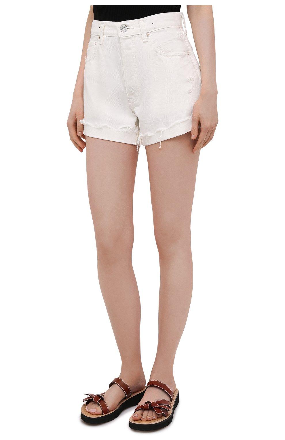 Женские джинсовые шорты MOUSSY белого цвета, арт. 025ESC11-2690 | Фото 3 (Женское Кросс-КТ: Шорты-одежда; Кросс-КТ: Деним; Длина Ж (юбки, платья, шорты): Мини; Материал внешний: Хлопок; Стили: Спорт-шик)