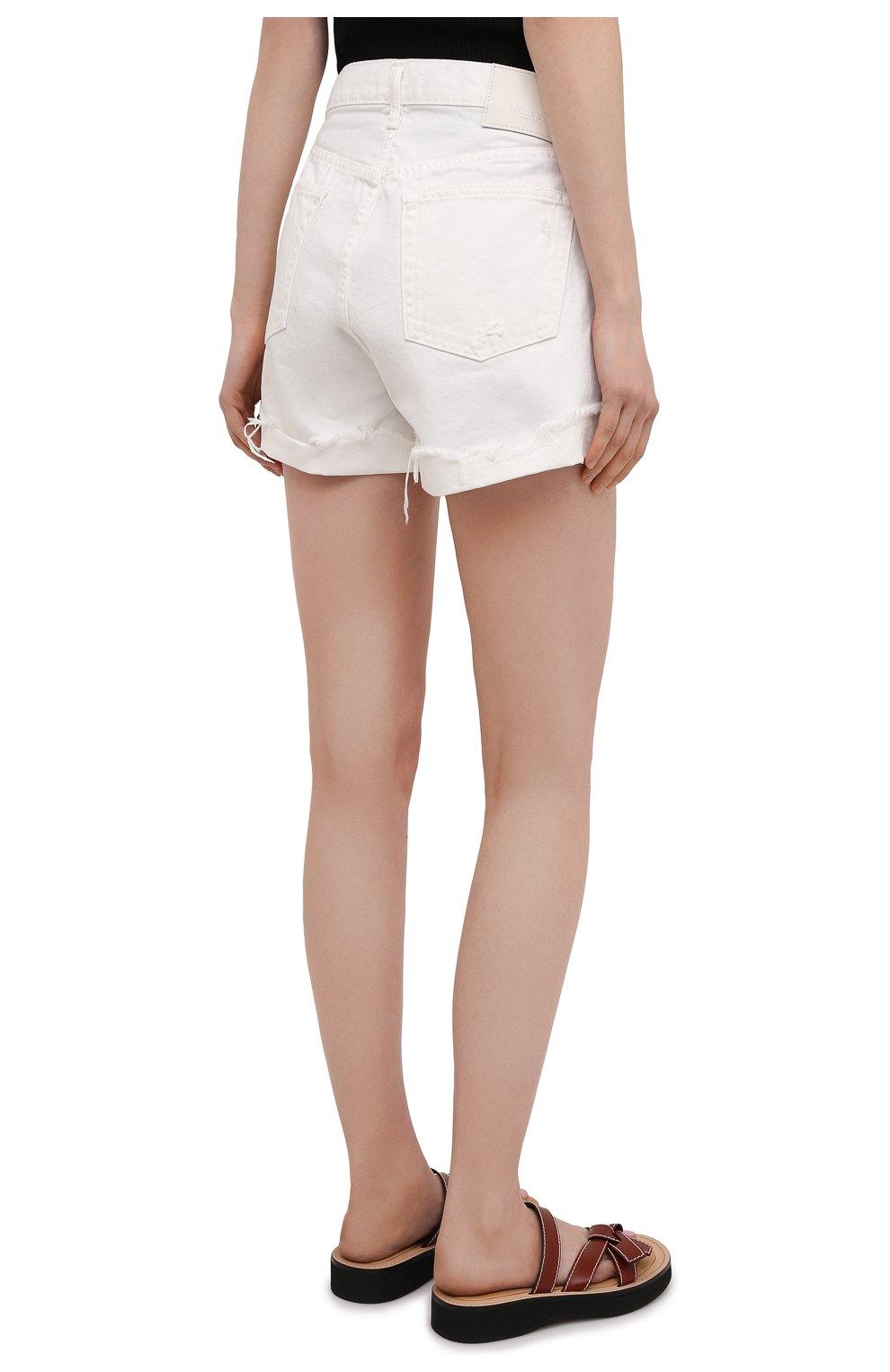 Женские джинсовые шорты MOUSSY белого цвета, арт. 025ESC11-2690 | Фото 4 (Женское Кросс-КТ: Шорты-одежда; Кросс-КТ: Деним; Длина Ж (юбки, платья, шорты): Мини; Материал внешний: Хлопок; Стили: Спорт-шик)