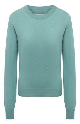 Женский хлопковый пуловер MAISON MARGIELA бирюзового цвета, арт. S51HA1109/S17659 | Фото 1
