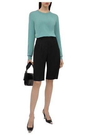 Женский хлопковый пуловер MAISON MARGIELA бирюзового цвета, арт. S51HA1109/S17659 | Фото 2