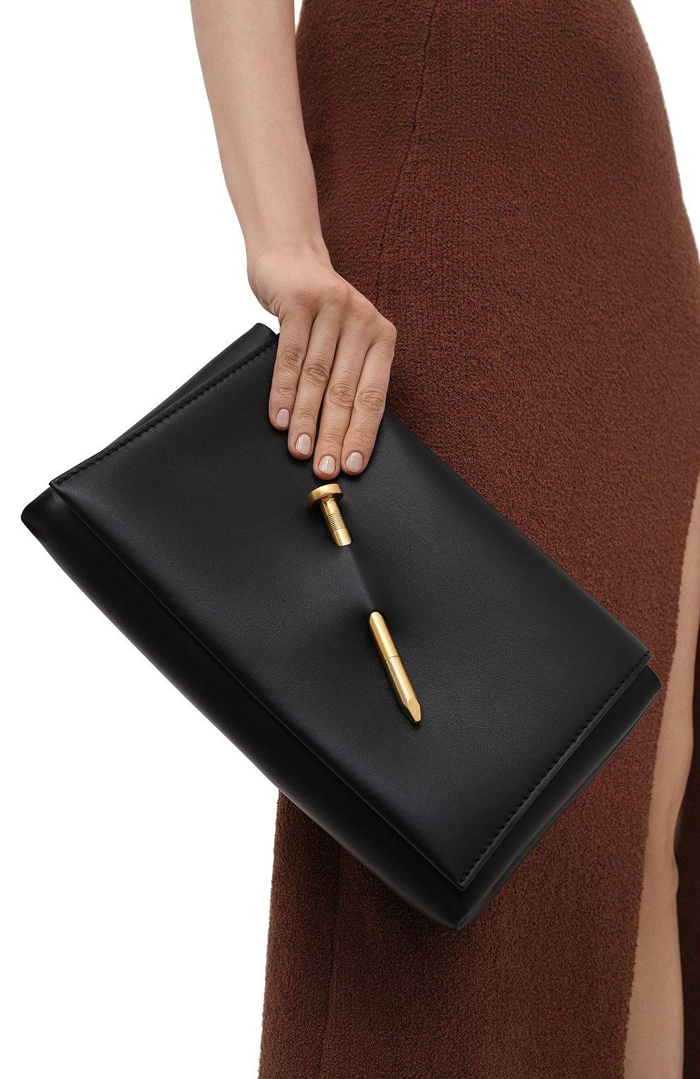 Женский клатч nail OFF-WHITE черного цвета, арт. 0WNM009S21LEA002 | Фото 2 (Размер: medium; Материал: Натуральная кожа; Женское Кросс-КТ: Клатч-клатчи)