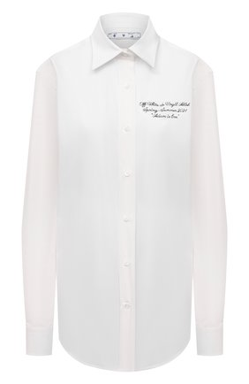 Женская хлопковая рубашка OFF-WHITE белого цвета, арт. 0WGA096S21FAB001 | Фото 1