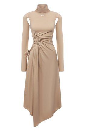 Женское платье из вискозы OFF-WHITE бежевого цвета, арт. 0WDB320S21JER001 | Фото 1