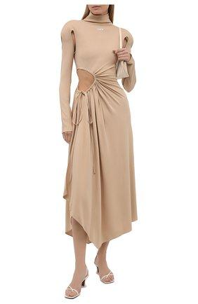 Женское платье из вискозы OFF-WHITE бежевого цвета, арт. 0WDB320S21JER001 | Фото 2