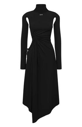 Женское платье из вискозы OFF-WHITE черного цвета, арт. 0WDB320S21JER001 | Фото 1 (Случай: Коктейльный; Рукава: Длинные; Стили: Спорт-шик; Длина Ж (юбки, платья, шорты): Миди; Женское Кросс-КТ: Платье-одежда; Материал внешний: Вискоза)