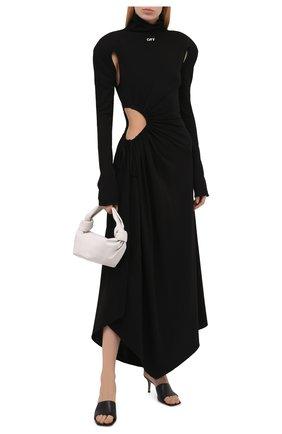 Женское платье из вискозы OFF-WHITE черного цвета, арт. 0WDB320S21JER001 | Фото 2 (Случай: Коктейльный; Рукава: Длинные; Стили: Спорт-шик; Длина Ж (юбки, платья, шорты): Миди; Женское Кросс-КТ: Платье-одежда; Материал внешний: Вискоза)