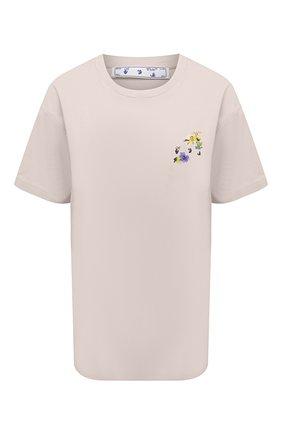 Женская хлопковая футболка OFF-WHITE серого цвета, арт. 0WAA089S21JER002 | Фото 1