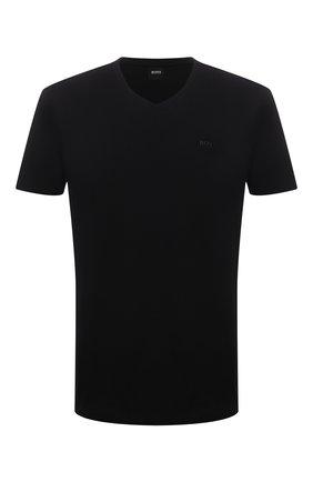 Мужская хлопковая футболка BOSS черного цвета, арт. 50385258 | Фото 1 (Принт: Без принта; Длина (для топов): Стандартные; Стили: Кэжуэл; Рукава: Короткие; Материал внешний: Хлопок)