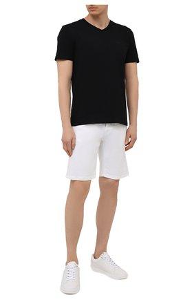 Мужская хлопковая футболка BOSS черного цвета, арт. 50385258 | Фото 2 (Принт: Без принта; Длина (для топов): Стандартные; Стили: Кэжуэл; Рукава: Короткие; Материал внешний: Хлопок)