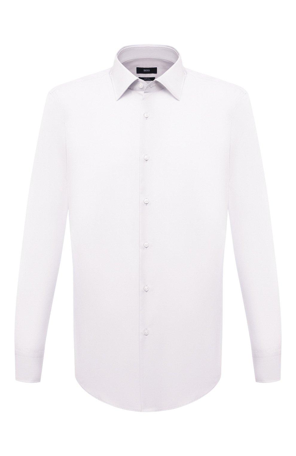 Мужская хлопковая сорочка BOSS белого цвета, арт. 50453911 | Фото 1