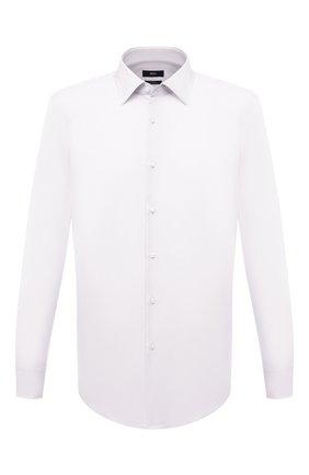 Мужская хлопковая сорочка BOSS белого цвета, арт. 50453911 | Фото 1 (Случай: Формальный; Рукава: Длинные; Рубашки М: Slim Fit; Воротник: Кент; Материал внешний: Хлопок; Принт: Однотонные; Стили: Классический; Длина (для топов): Стандартные; Манжеты: На пуговицах)