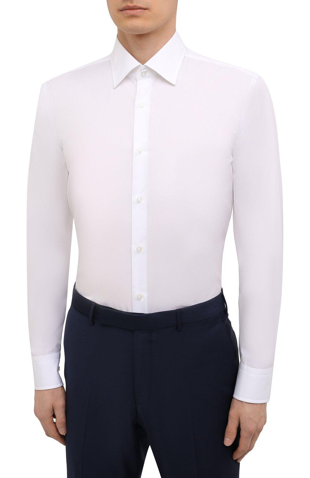 Мужская хлопковая сорочка BOSS белого цвета, арт. 50453911 | Фото 3