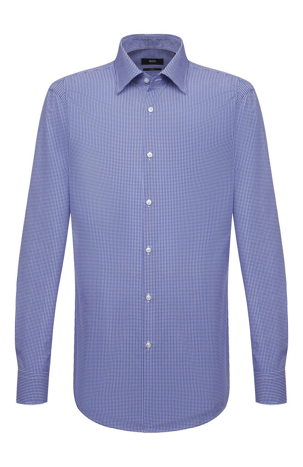 Мужская хлопковая сорочка BOSS синего цвета, арт. 50454003   Фото 1