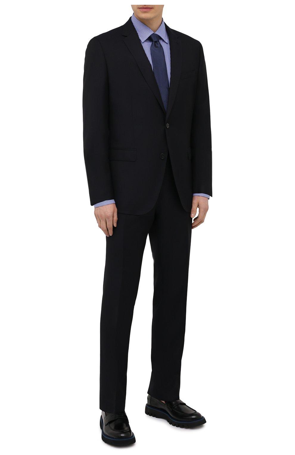 Мужская хлопковая сорочка BOSS синего цвета, арт. 50454003   Фото 2