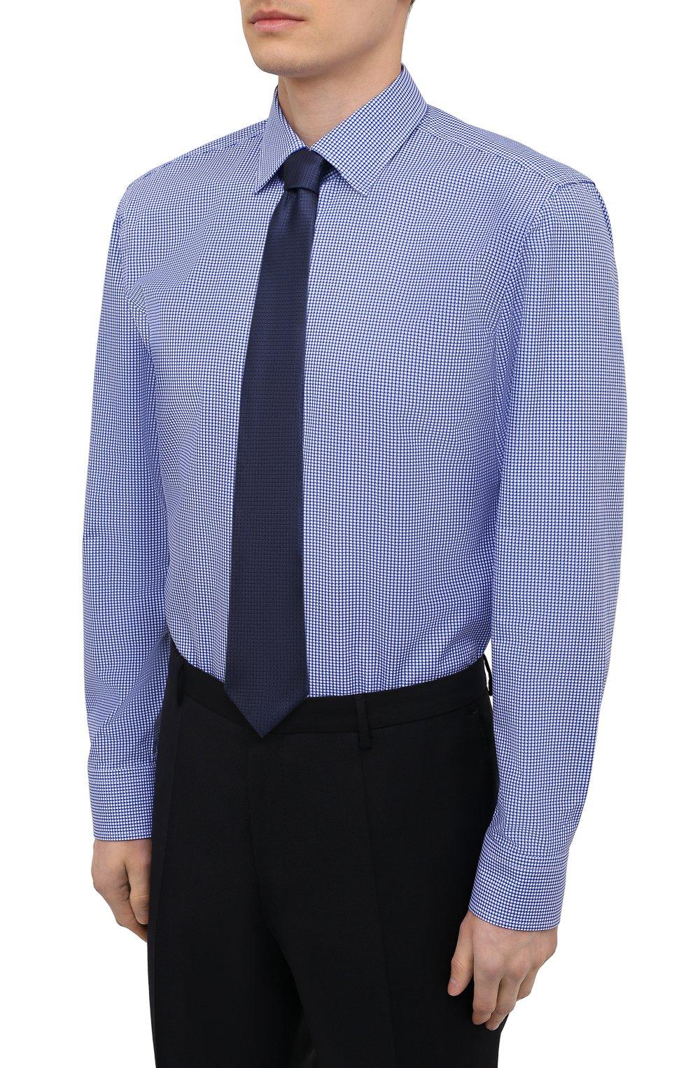 Мужская хлопковая сорочка BOSS синего цвета, арт. 50454003   Фото 4
