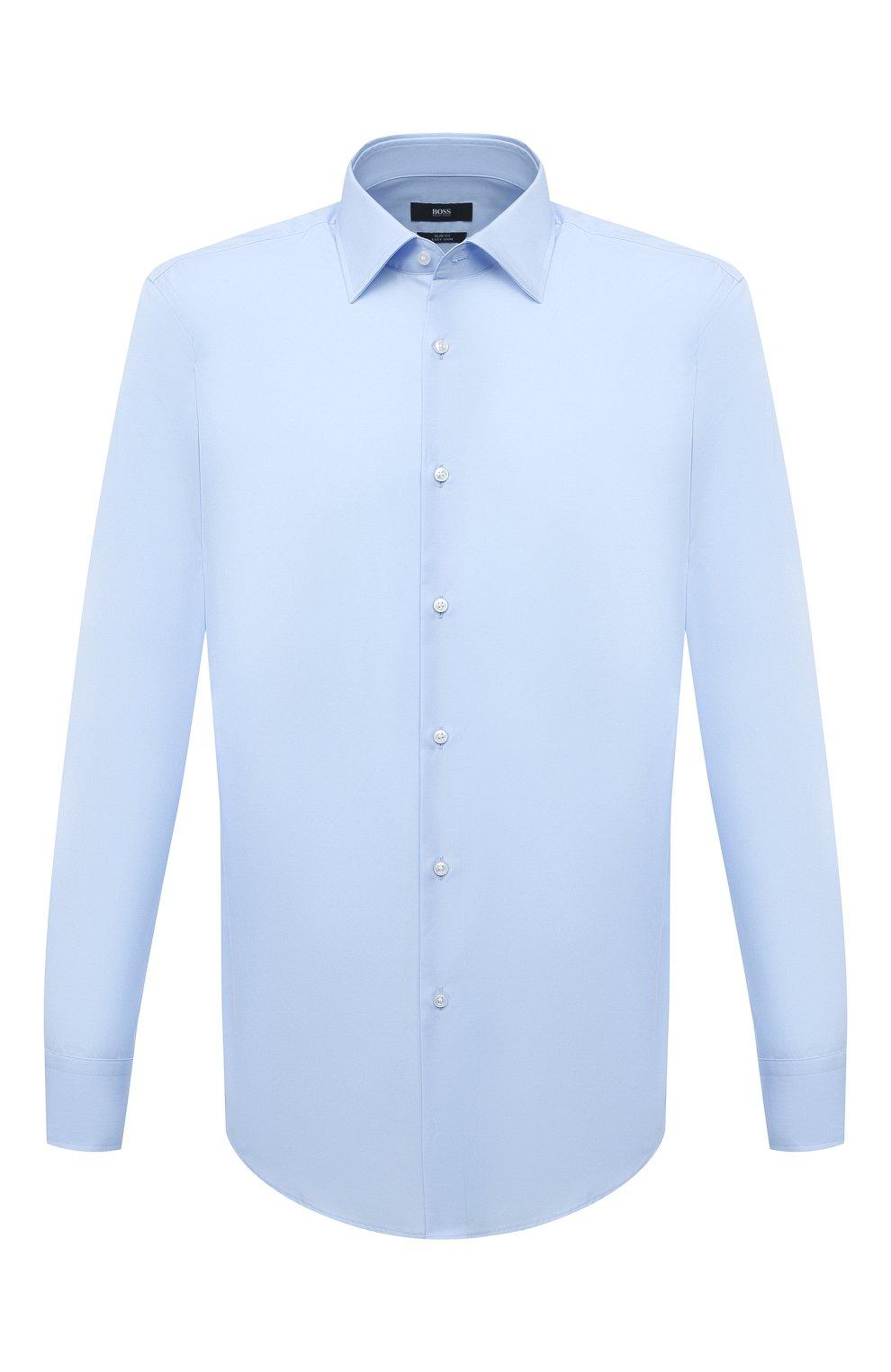 Мужская хлопковая сорочка BOSS голубого цвета, арт. 50453911 | Фото 1