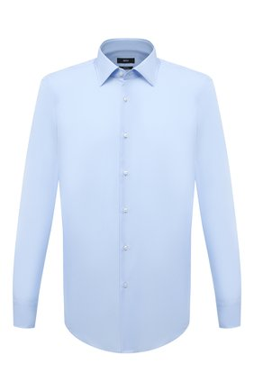 Мужская хлопковая сорочка BOSS голубого цвета, арт. 50453911 | Фото 1 (Стили: Классический; Рубашки М: Slim Fit; Воротник: Кент; Случай: Формальный; Рукава: Длинные; Длина (для топов): Стандартные; Материал внешний: Хлопок; Принт: Однотонные; Манжеты: На пуговицах)