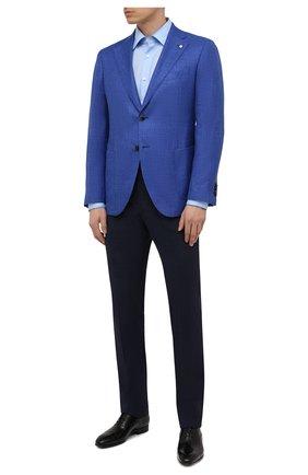 Мужская хлопковая сорочка BOSS голубого цвета, арт. 50453911 | Фото 2 (Стили: Классический; Рубашки М: Slim Fit; Воротник: Кент; Случай: Формальный; Рукава: Длинные; Длина (для топов): Стандартные; Материал внешний: Хлопок; Принт: Однотонные; Манжеты: На пуговицах)