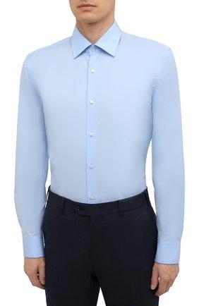 Мужская хлопковая сорочка BOSS голубого цвета, арт. 50453911 | Фото 3
