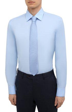 Мужская хлопковая сорочка BOSS голубого цвета, арт. 50453911 | Фото 4