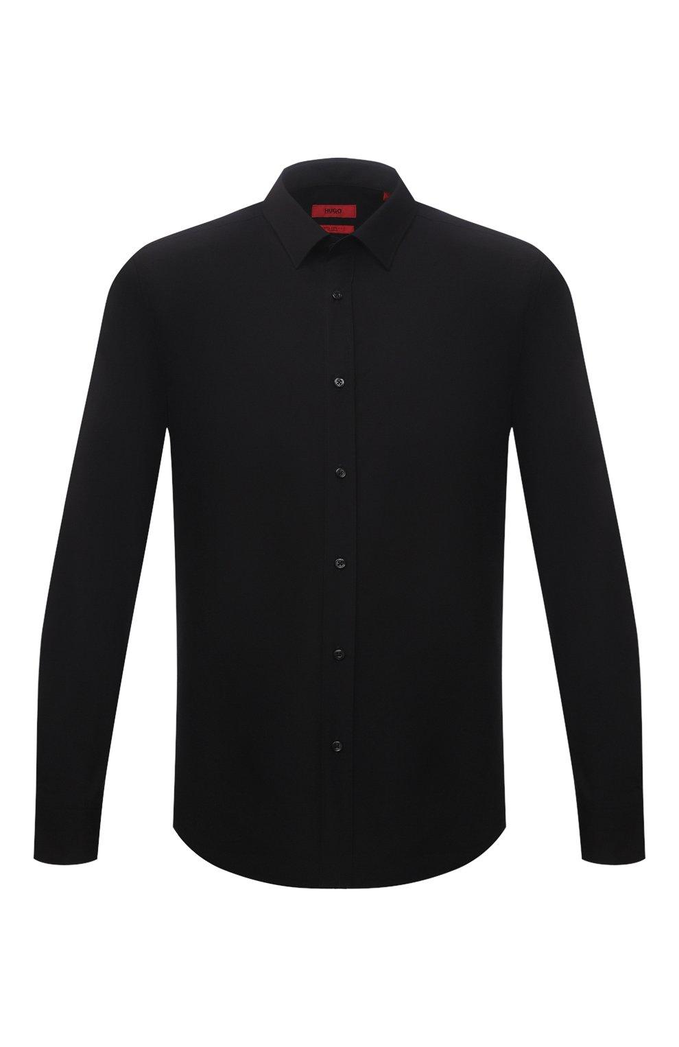Мужская хлопковая сорочка HUGO черного цвета, арт. 50425897   Фото 1 (Воротник: Кент; Рукава: Длинные; Рубашки М: Regular Fit; Длина (для топов): Стандартные; Материал внешний: Хлопок; Стили: Классический; Случай: Формальный)