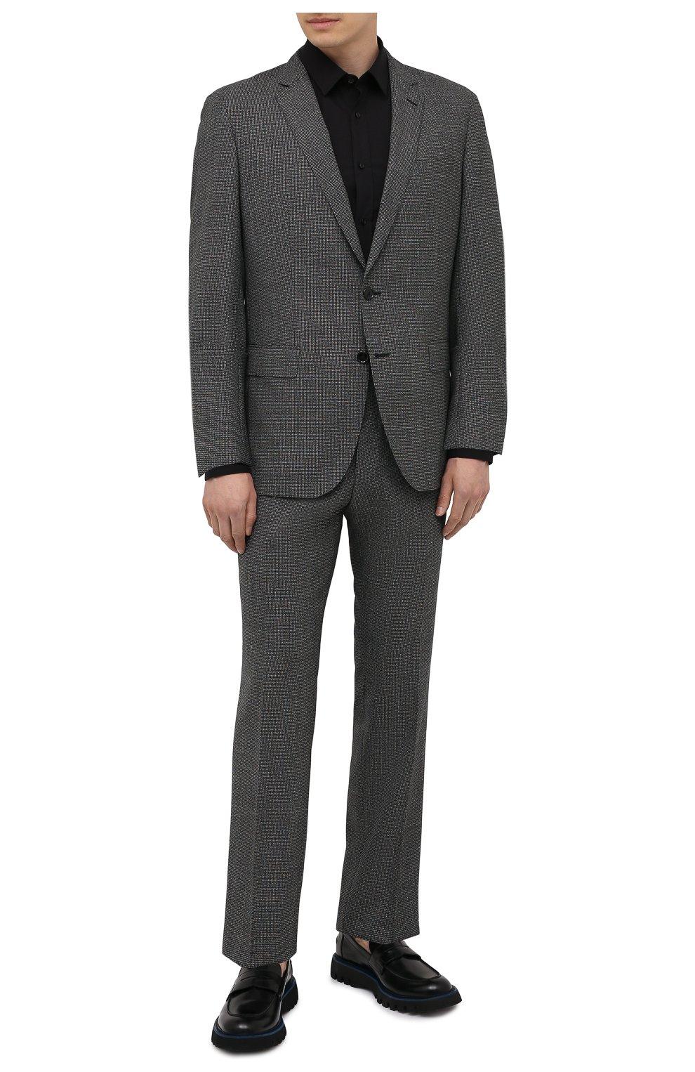 Мужская хлопковая сорочка HUGO черного цвета, арт. 50425897   Фото 2 (Воротник: Кент; Рукава: Длинные; Рубашки М: Regular Fit; Длина (для топов): Стандартные; Материал внешний: Хлопок; Стили: Классический; Случай: Формальный)