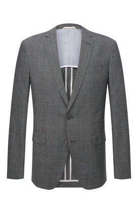 Мужской шерстяной пиджак BOSS серого цвета, арт. 50453898 | Фото 1