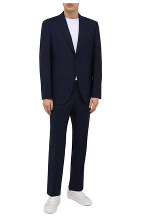 Мужской шерстяной костюм BOSS синего цвета, арт. 50453689 | Фото 1